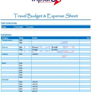 Travel Budget & Expense Sheet